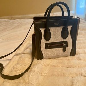 Celine Bicolor Luggage Bag Leather Micro